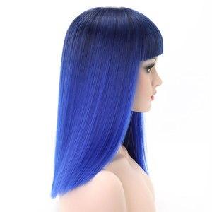 Image 5 - COSYCODE נשים פאה עם פוני 16 inch 40 cm ישר שחור כדי כחול 2 טון ללא תחרה סינטטי פאה קוספליי תלבושות כתף אורך