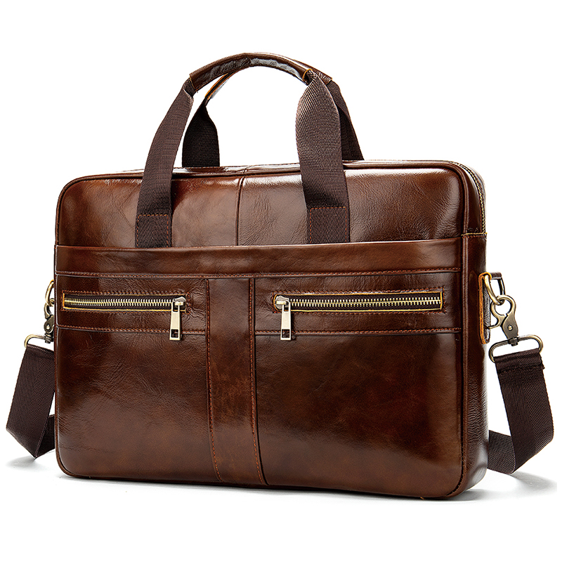 Luufan Mens Genuine Leather Briefcase Male Laptop Bag Natural Cow Leather Handbags Men's Messenger Bag 2019 Hot Computer Bag