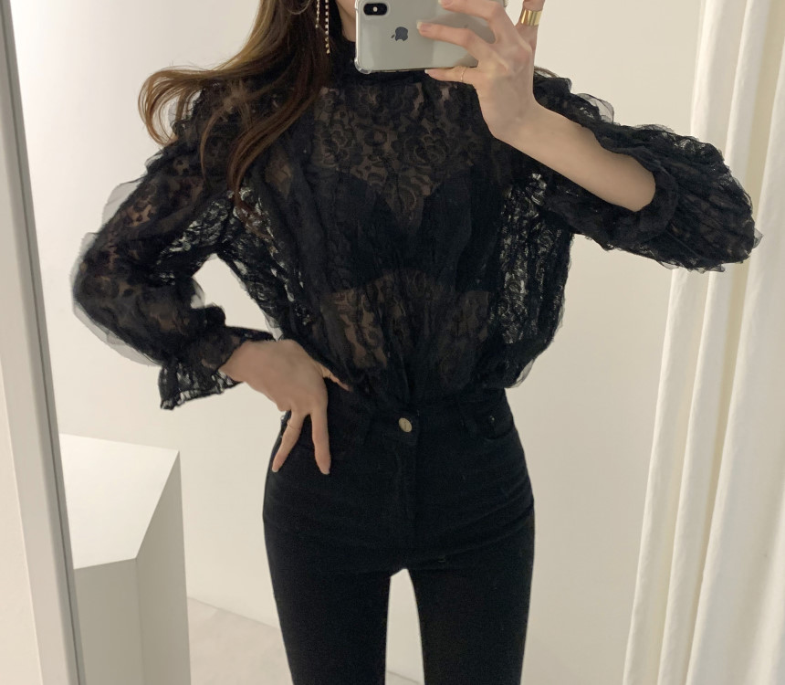 H45395cd4acca4d9aae19a0404ae0932dw - Spring / Autumn Stand Collar Puff Sleeves Mesh Lace Crochet Flower Blouse