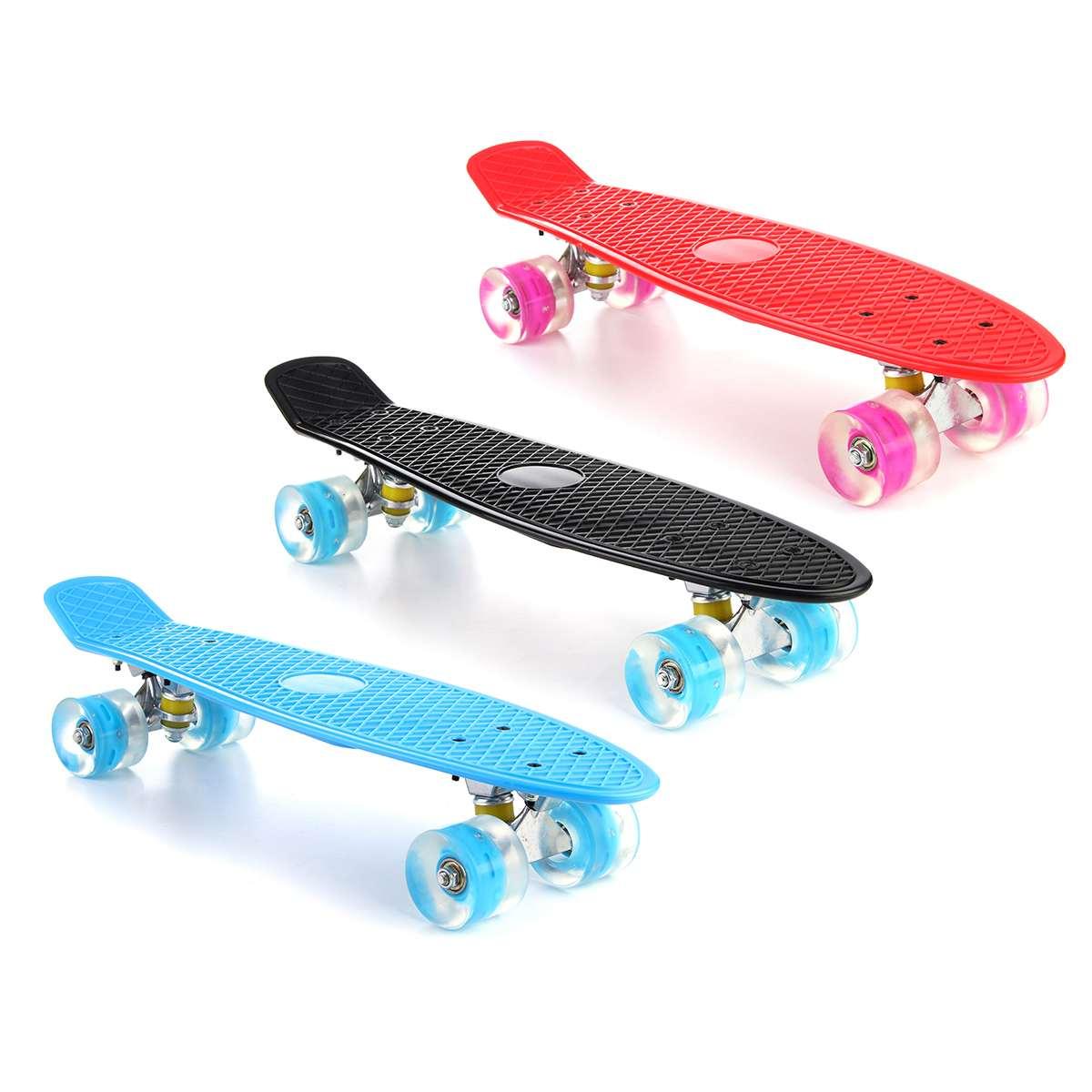22 Inches Four-wheel Mini Longboard Pastel Color Skate Board Skateboard With LED Flashing Wheels Retro Skateboard