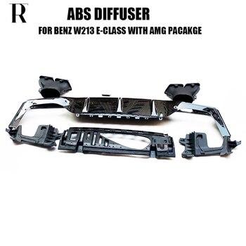 W213 E63 стиль abs черный задний бампер диффузор с выхлопными наконечниками для Benz W213 E200 E260 E300 E320 E43 с Amg упаковкой 2016 up