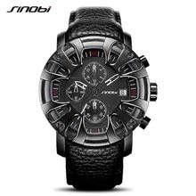 SINOBI Creative Car Design Fashion Leather Men Watches Top Brand Canlender Man Quartz Wristwacthes Chronograph Military Clock 20