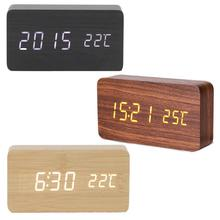 Newest Wooden LED Alarm Clock Display Calendar Thermometer Wood Table Decoration Functional Clocks Without Battery A35