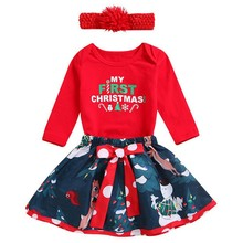 hilittlekids Christmas Children's Clothing New Girl Baby Long-Sleeved Rompers Drees Headband 3-piece