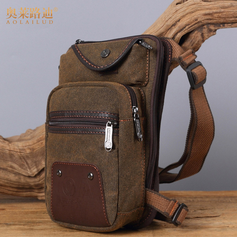 AOLAILUDI Waist Bag Fashion Men Waist Pack Leg Bag Waterproof Canvas Fanny Pack Casual Motorcycle Thigh Bag