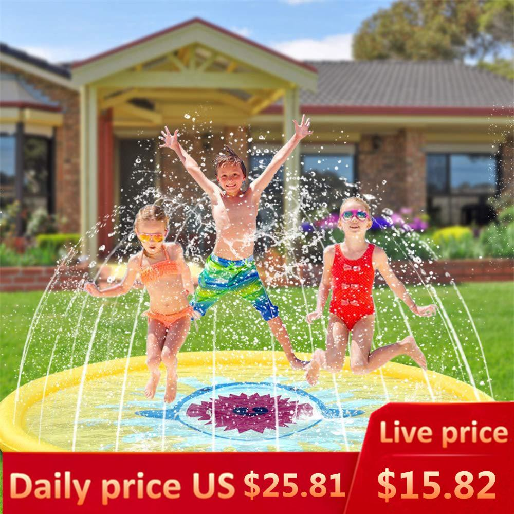 Kids Pool Water Mat Inflatable Splash Sprinkler Pad For Kids Toddlers Dogs Kiddie Baby 68inch Small Pool Piscina Para Ninos Swimming Pool Aliexpress