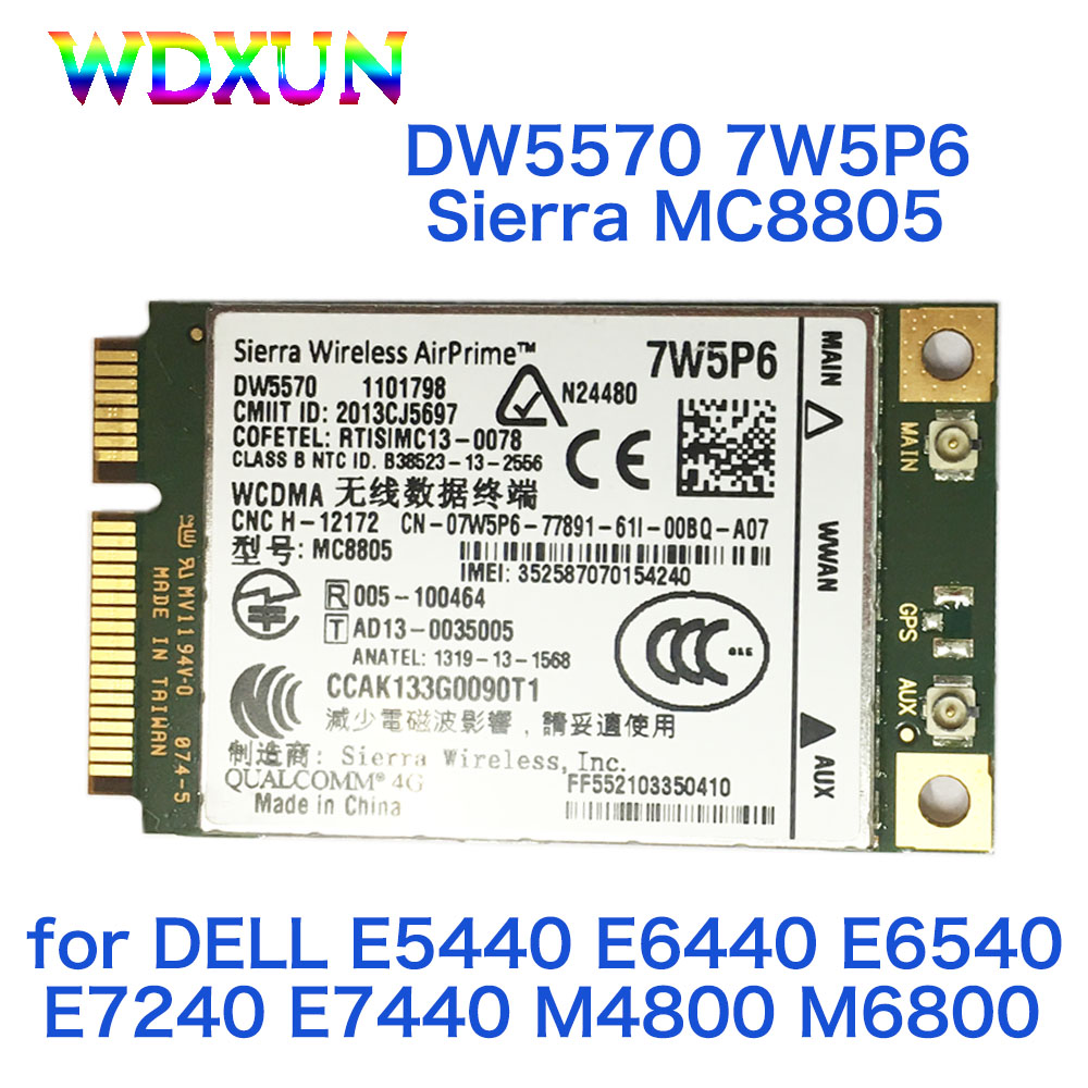 Hspa + Wwan Placa de Rede 3g para Dell Sierra Banda Larga Móvel Wwan E5440 E6440 E6540 E7240 E7440 M4800 M6800 Dw5570 7w5p6 Mc8805