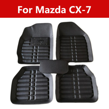 Durable Wear-Resisting Leather Car Floor Mats Special Pads For Mazda Cx-7 Waterproof Non-Slip Leather Liner Set image