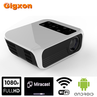 Gigxon Native 1920x1080 FHD Projector 4K*2K Home Cinema Projector 2GB DDR3/16GB WIFI Android 7.1 OS 3000 Lumens Proyecto
