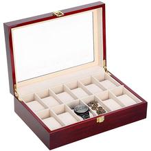 Pudełko na zegarek organizator zegarków 2-12 Grids drewniane przechowywanie zegarków przypadku do prezentowania przechowywania biżuterii zegarków pudełko kolekcja biżuterii przypadku organizator Holder D30 tanie tanio CN (pochodzenie) Moda casual 11cm Nowy z metkami 270070 Rectangle 8 5cm 11-21cm Drewna 12-31cm Mieszane materiały 200001555