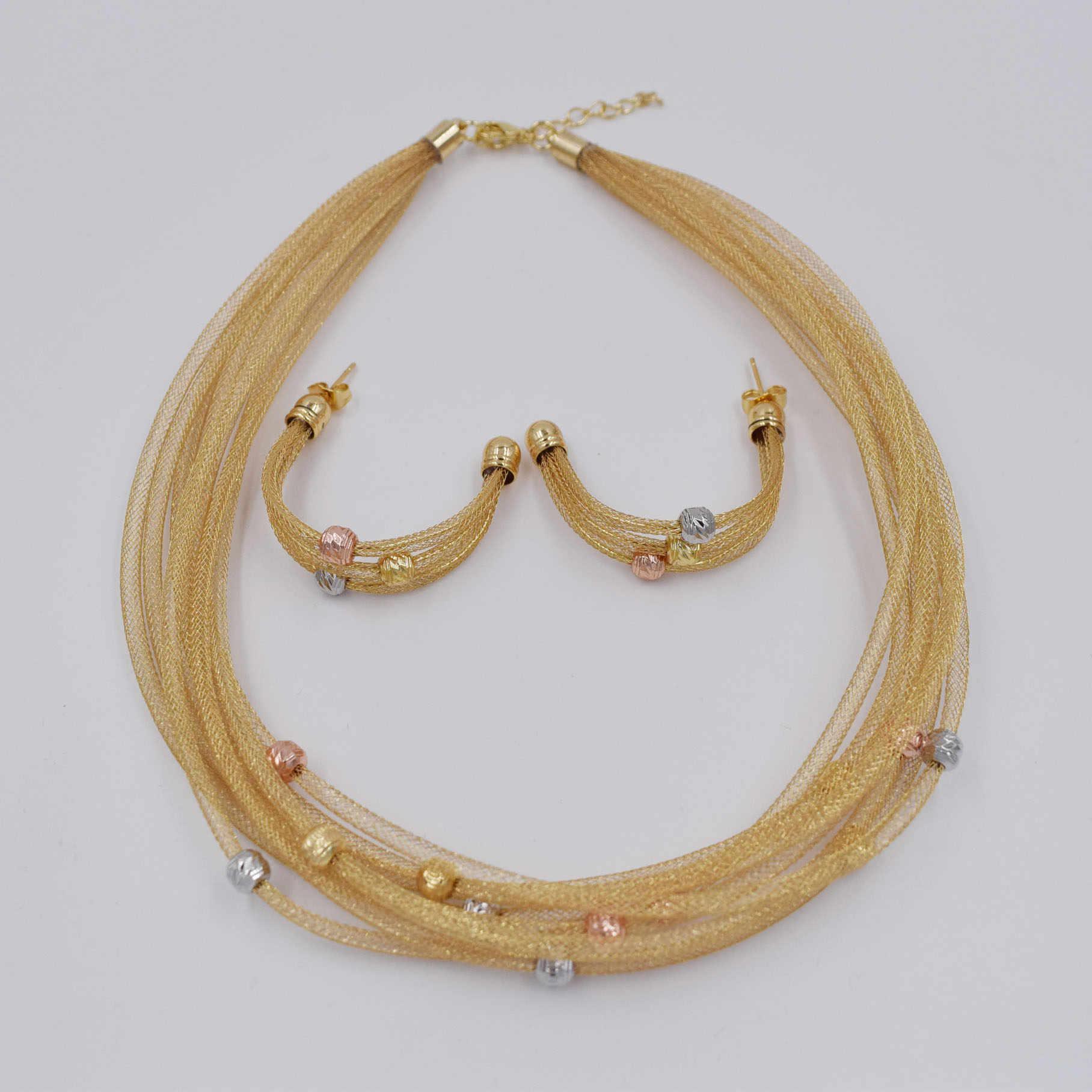 Hohe Qualität Ltaly 750 Gold farbe Schmuck Set Für Frauen afrikanische perlen jewlery mode halskette set ohrring schmuck
