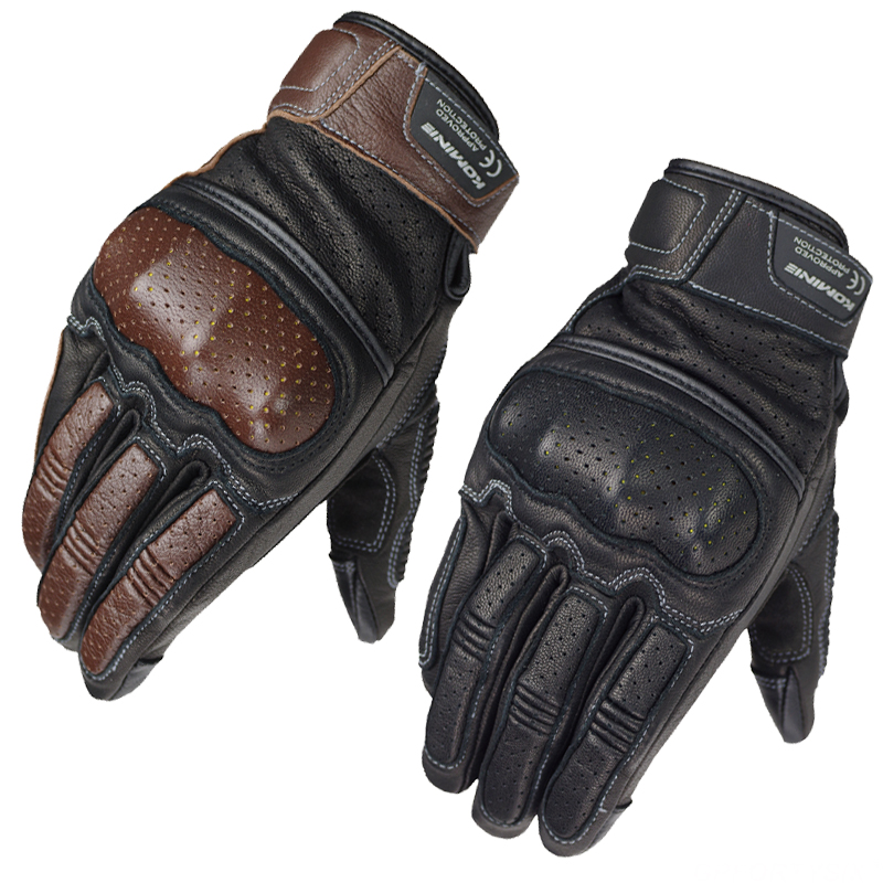 KOMINE 3D Mesh Vintage Goatskin Touch Screen Motorcycle Rider's Full Finger Gloves Summer Motorcycle Punching Anti-drop Gloves