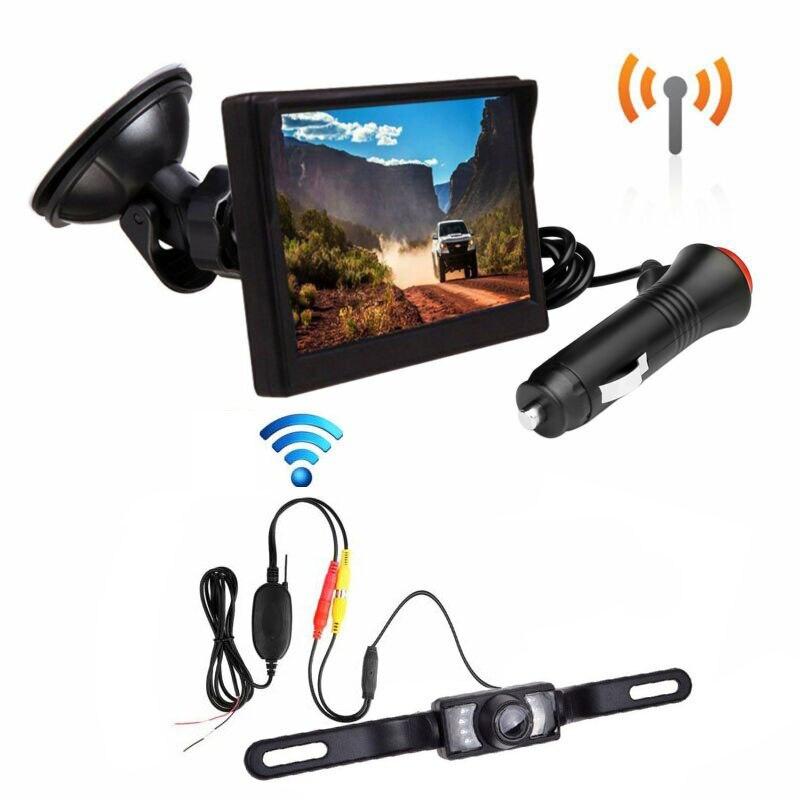 Wireless Backup LCD Monitor License Plate Night Vision Rear View Camera Kit Waterproof Car Surveillance Camera