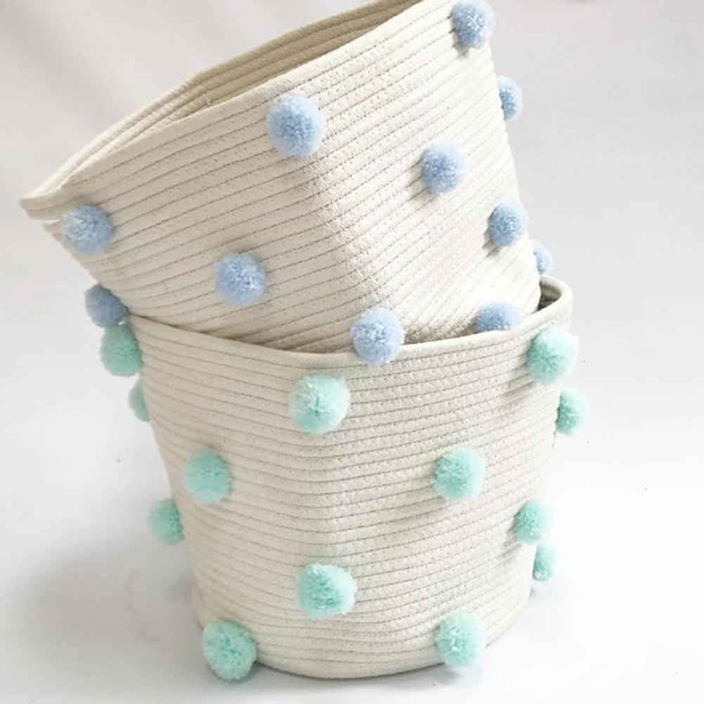 Cotton Rope Knitted Pompom Decor Laundry Basket Toy Storage Bucket Photo Prop Foldable Lightweight And Portable