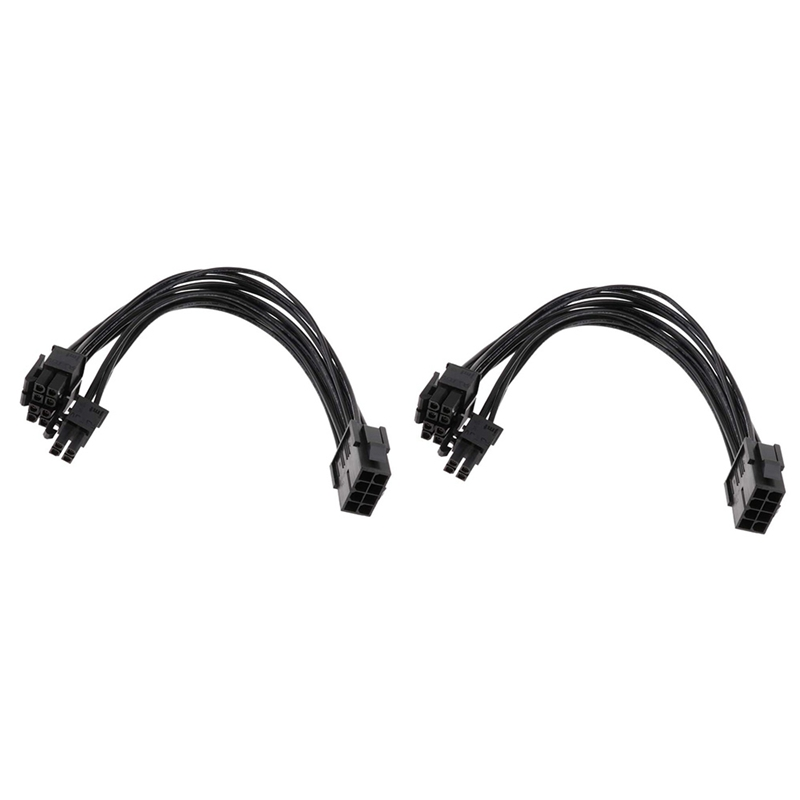 2 Pack CPU 8Pin to 8+4Pin Power Supply Extension Cable Cord 20cm Converting 8 Pin CPU Power Wire to 8+4Pin Power Wire