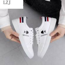 2019 Spring And Summer New White Shoes Fashion Flat Shoes Women Leather Ladies Shoes Female Sneakers Casual Shoes # S-8893(China)