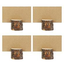 10/20 штук дерево ворс карточка с именем и местом деревянный кора Memo место держатель для карт в виде пенька из меню номер Memo подставка для Свадебная вечеринка стол Декор