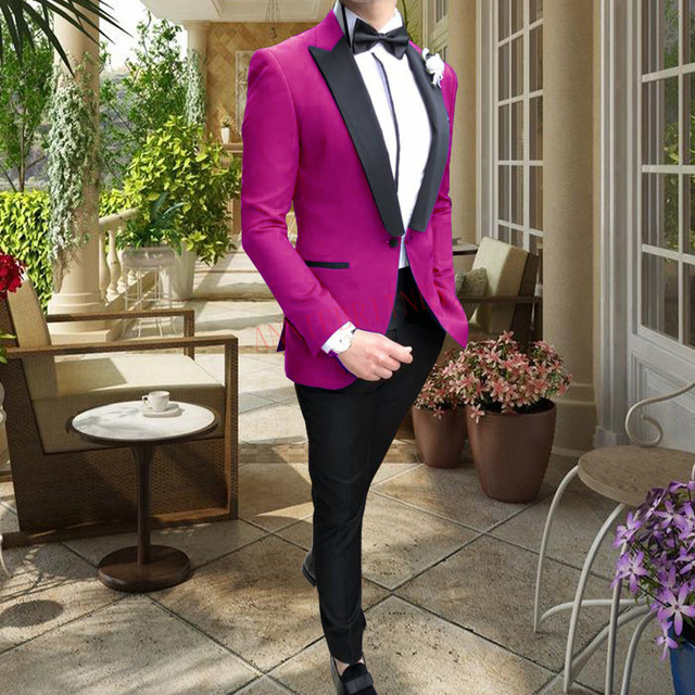 2020 Suits Men Casual One Button Men Suits For Wedding Man Suit Slim Fit Tuxedo Fashion Hot Pink Mens Blazer Pants Formal Jacket