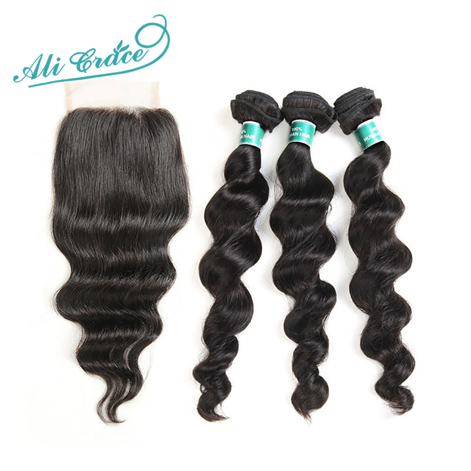 Hair Closure Loose-Wave-Bundles Ali-Grace Brazilian 100%Remy-Hair With Free-Part And