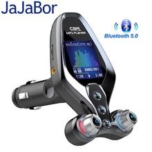 JaJaBor جهاز إرسال FM لـ Bluetooth 5.0 ، مغير FM ، بدون استخدام اليدين ، مستقبل صوت مساعد QC3.0 ، شاحن سيارة سريع