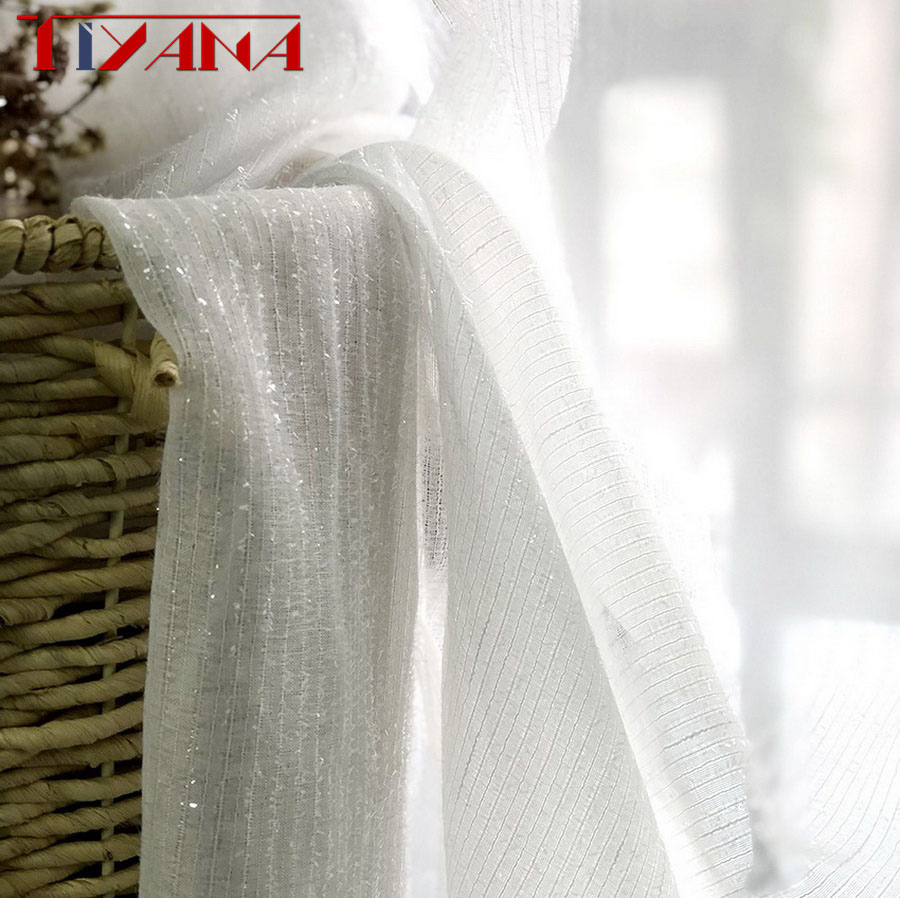 Shiny Silver Wire Striped White Tulle Curtains For Living Room Kitchen Modern Window Treatments Sheer Curtain Voile Wp396#4