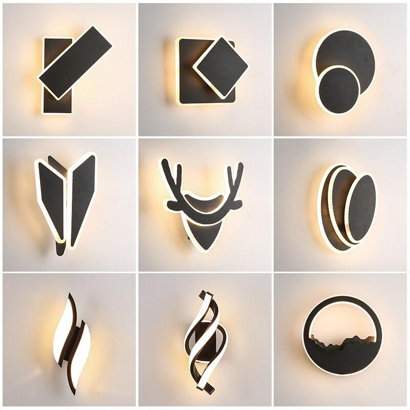 Luz de parede para o quarto rotação cabeceira arandela preto escada corredor foyer lâmpadas parede moderna led decoração da sua casa