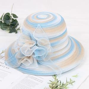 Женская сетчатая шляпа Mingli Tengda, Корейская версия шляпы из органзы с цветочным принтом, шляпа большого размера с козырьком для свадьбы