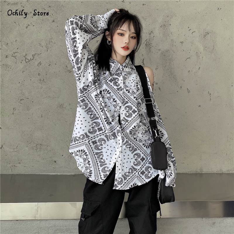 Long Sleeve Classic Loose Shirts V Neck Blue White 2021 New Daily All Match Women Clothing Fashion Vintage Casual Silk Shirt