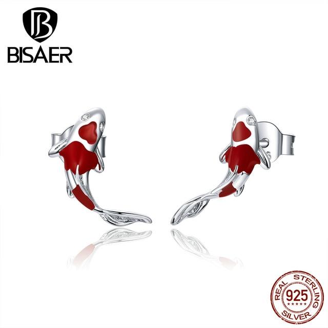 Luck & Courage Earrings BISAER 925 Silver Koi Red Enamel Silver Polished Women Stud Earrings Sterling Silver Jewelry ECE812