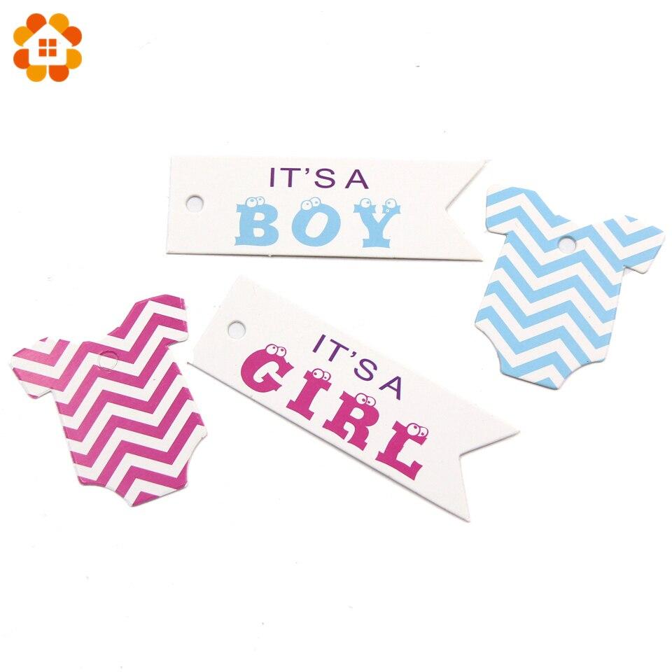 100PCS Roze & Blauw Papier Tags Papieren Kaart Tags Labels DIY Ambachten Hang Tag Voor Baby Birthday Party Decoraties baby Shower Benodigdheden 1