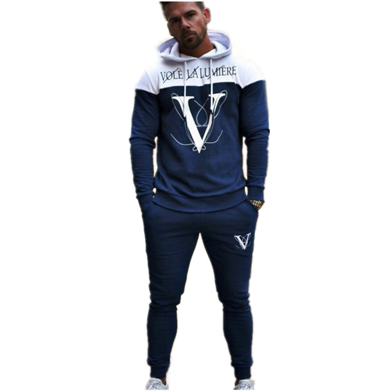 Brand Men Sport Sets Fashion Casual Cotton Patchwork Sweatsuit Track Run Gym Fitness Joggers Sport Suit Hoodeds With Pants Male