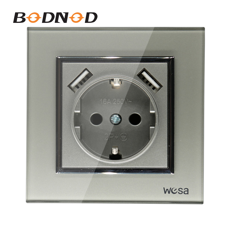 2019 New Design Double USB Wall Socket 5V 2A Grey Tempered Glass Frame FB-19 Free Shipping Hot European Standard Wall Adapter
