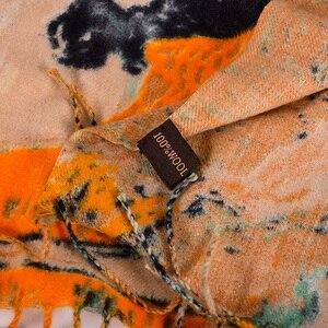 Image 5 - [Bysifa] lenços de lã de camelo feminino impresso nova moda cashmere pashmina lenço longo xale elegante marca quente feminino cachecóis envoltórios