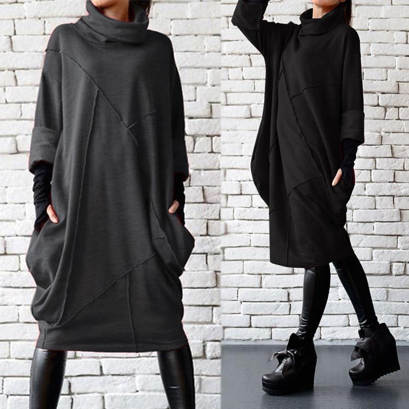 2020 ZANZEA Autumn Turtleneck Dress Women's Casual Sundress Female Knee Length Vestidos Pockets Long Sleeve Robe Femme Plus Size