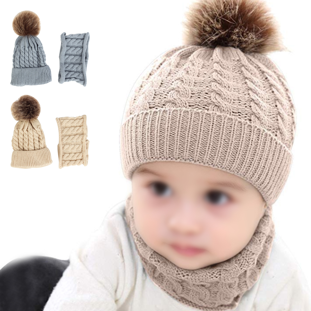 2PCS Knitted Hat Scarf Set Baby Kids Autumn Winter Striped Cute  Woolen Hats Yarn Soft Warm Warps Gift Outfit Neckerchief