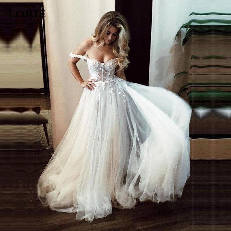 LORIE A Line Lace Wedding Dresses 2019 Off The Shoulder Boho Bride Dresses Sexy Backless Wedding Gowns Vestidos De Novia