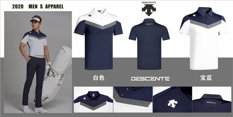 2020 New Q Men's Short Sleeve Sportswear DESCENT Soft Quick-Drying Golf Polo Shirt 2 Colors Choice Golf Clothing Free Shipping