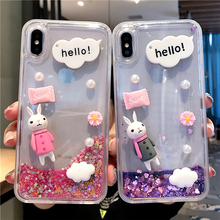 Rabbit Liquid Glitter Clear Phone Case For iPhone XR X XS Max 7 8 6 Plus Soft silicone Bunny Quicksand Sand Cover