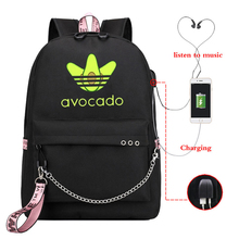 Avocado printed Canvas Backpack School Bags for Girls College bag Students Laptop travel Backpacks Leisure Chain Travel Rucksack