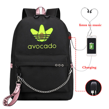 Avocado printed Canvas Backpack School Bags for Girls College bag Students Laptop travel Backpacks Leisure Chain Travel Rucksack totoro anime cosplay backpack ogino chihiro cartoon canvas travel backpacks shoulders school bag best students gifts