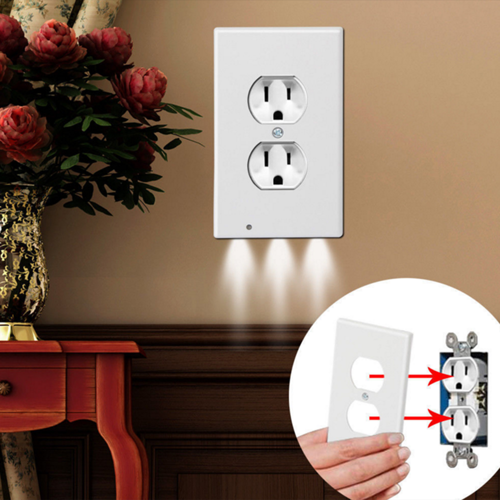AC110V Outlet Cover Wall Plate With LED Night Lamp Sensor Night Light 3LEDs Duplex With Ambient Light Plug Wall Bedroom Kitchen