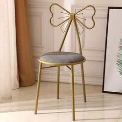American Country Modern Design Gold Color Iron Metal Dining Chair Butterfly Backrest Leisure Dressing Chair Soft Seat Cushion