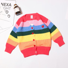 2019 Autumn Winter Childrens Rainbow Cotton Sweater Girls V-neck Knitted Cardigan Coat Colorful Long-Sleeve Knitwear 2-7T