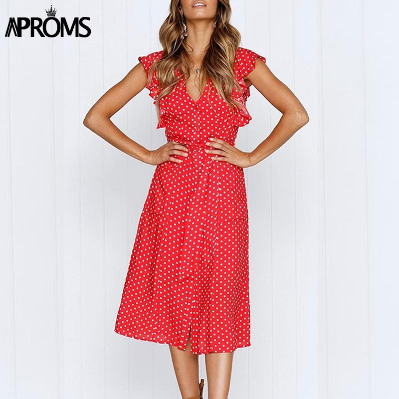 Aproms Boho Polka Dot Print Dress Women Casual Sleeveless V Neck Red Sundress Midi Dress female Beach A-line Dress Vestidos 2020
