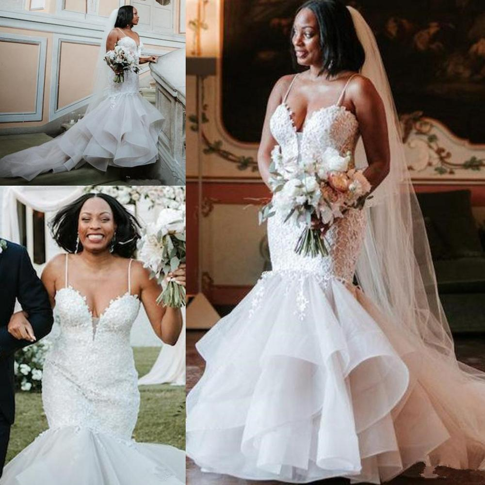 African Mermaid Wedding Dresses Big Size Lace Boho Wedding Dress Spaghetti Straps Tired Ruffles Bridal Gowns 2020 Trouwjurk