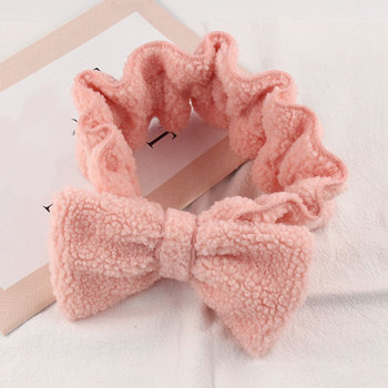 Faux Lamb Wool Headband Wide Brim Big Bow Elastic Turban Soft Comfortable DIY Wash Face Makeup Hairbands Hair Accessories image