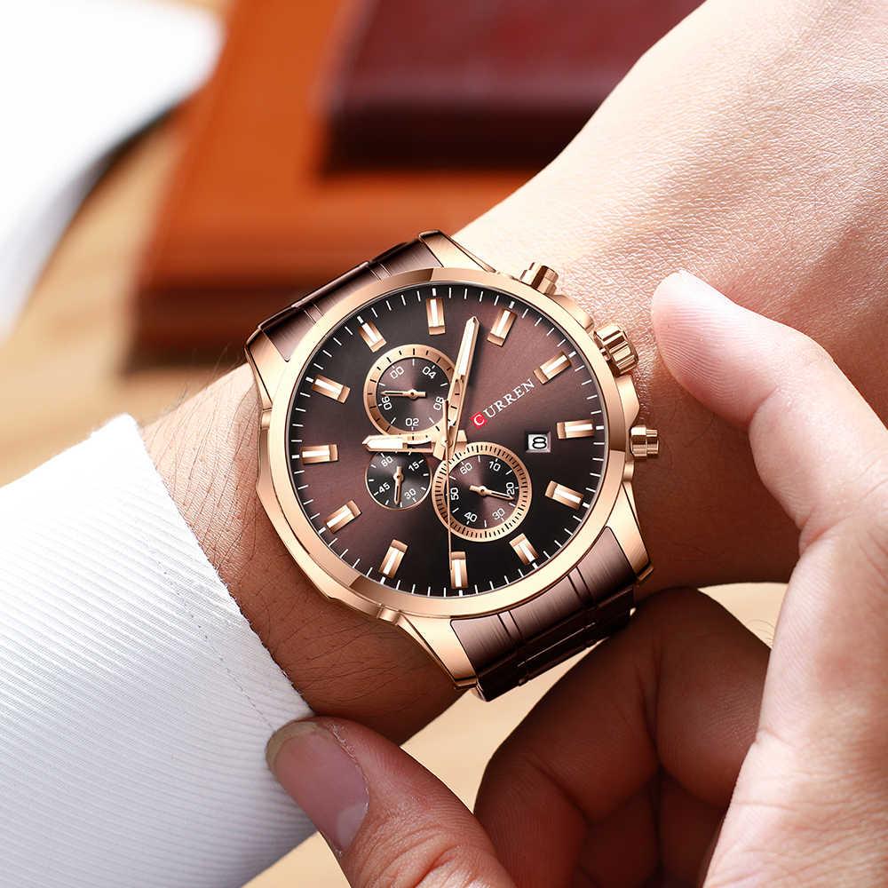 CURREN أعلى ووتش الرجال العلامة التجارية الفاخرة الكوارتز أزياء الرجال الساعات الصلب للماء الرياضة كرونوغراف ساعة معصم Relogio Masculino