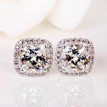 Luxury Female Crystal Zircon Stone Earrings Fashion Silver Color Yellow White Earrings Vintage Double Stud Earrings For Women