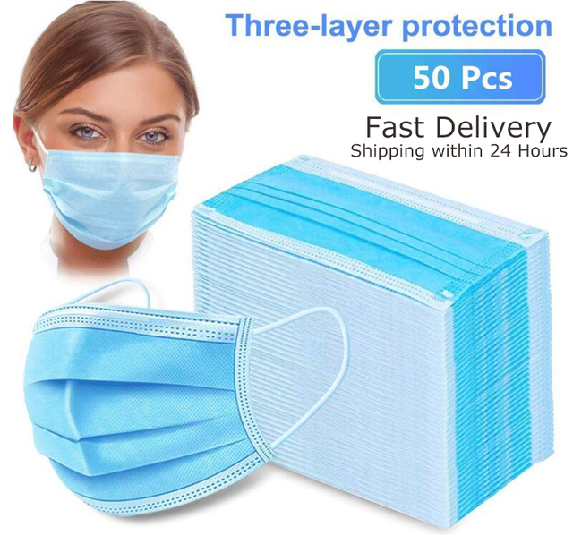 24H Ship 50PCS Disposable Face Mask with Elastic Earloop Three Layers Breathable Mask Non-Woven Fabric Mask for Dust Germ Flu