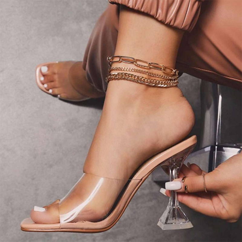 Women Sexy Sandals High Heels Shoes Ladies Fashion Slippers Plus Size Square Toe Transparent Pumps New Female Summer Comfort 1